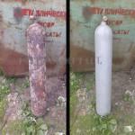 Металлический баллон до и после пескоструйной обработки