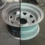 диск до и после пескоструйной обработки
